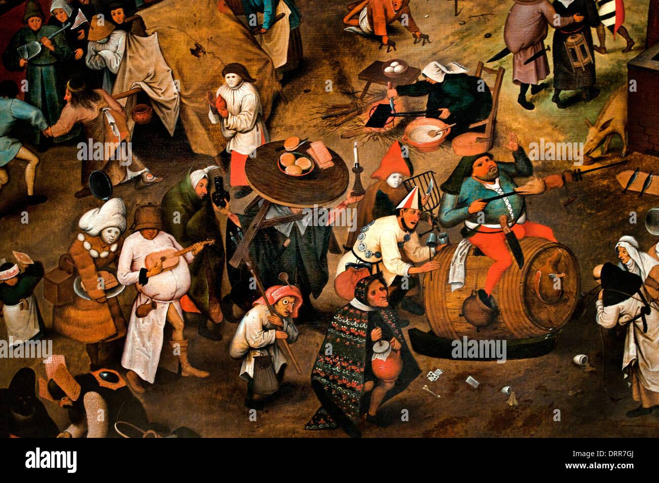 The Fight between Carnival and Lent by Pieter II Brueghel the elder 1525 -1569   Flemish Belgian Belgium - Stock Image