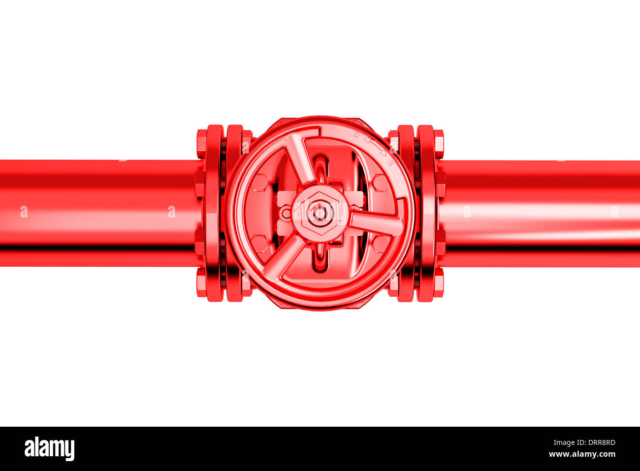 Pipeline Stopcock isolated on wihte background High resolution 3D - Stock Image