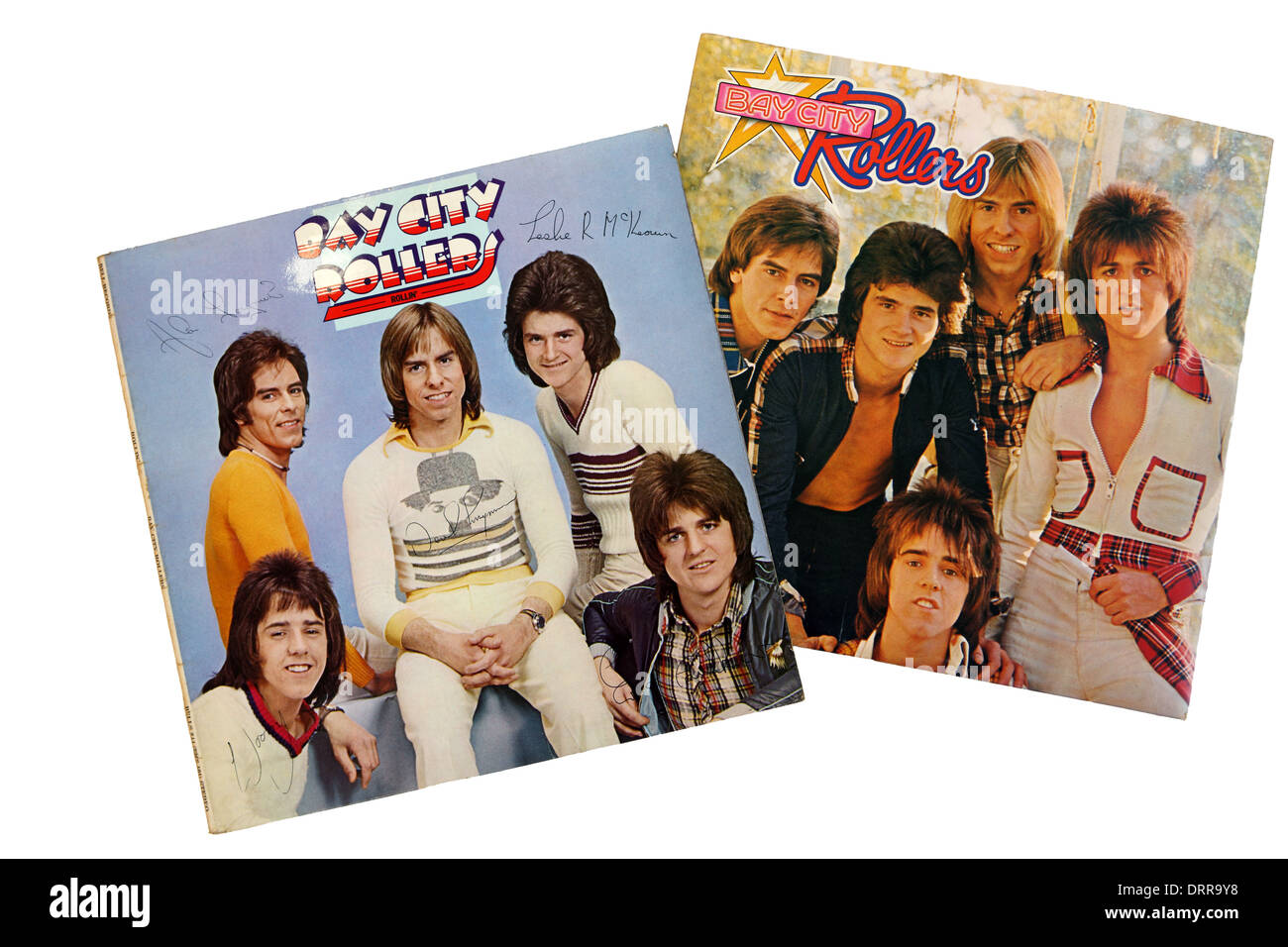 Bay City Rollers LP's on a white background - Stock Image
