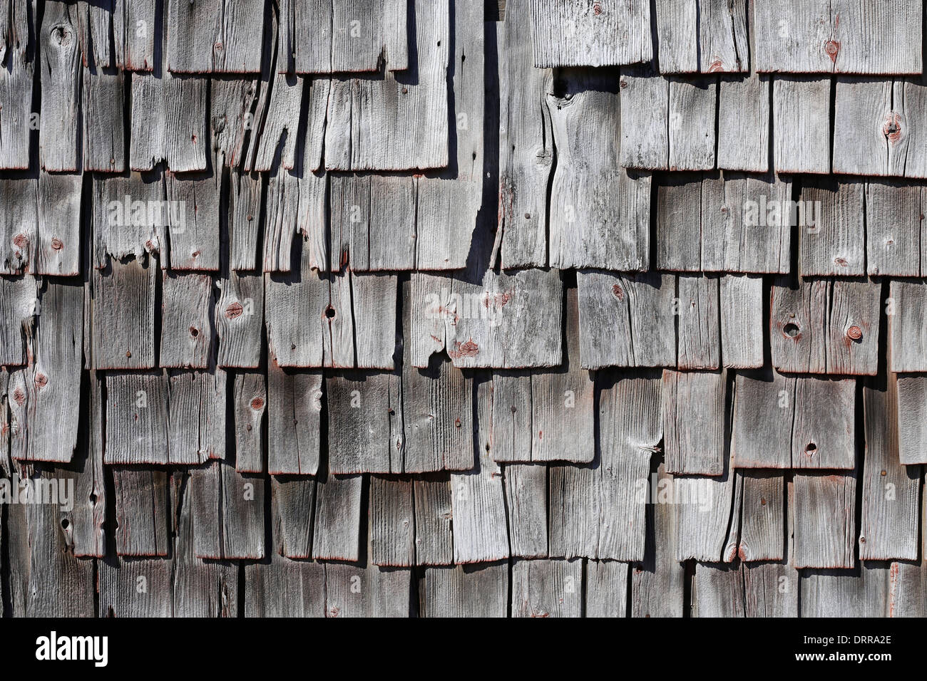 Old Weathered Cedar Shake Shakes Shingles On The Side Of