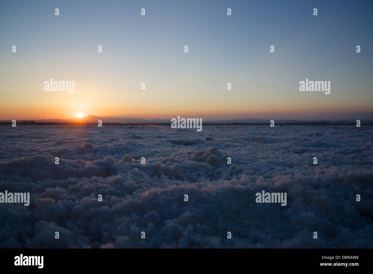 Sunset over the salt lake near Larnaca, Cyprus, Greece - Stock Image