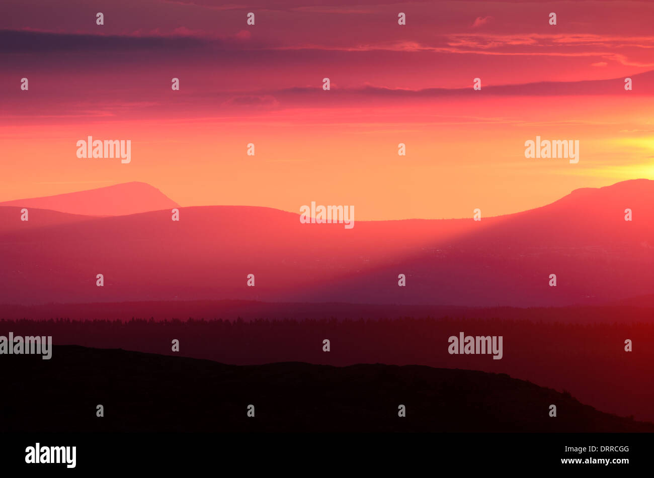 Sunrise at 4:58 am in Swedish Lapland - Stock Image