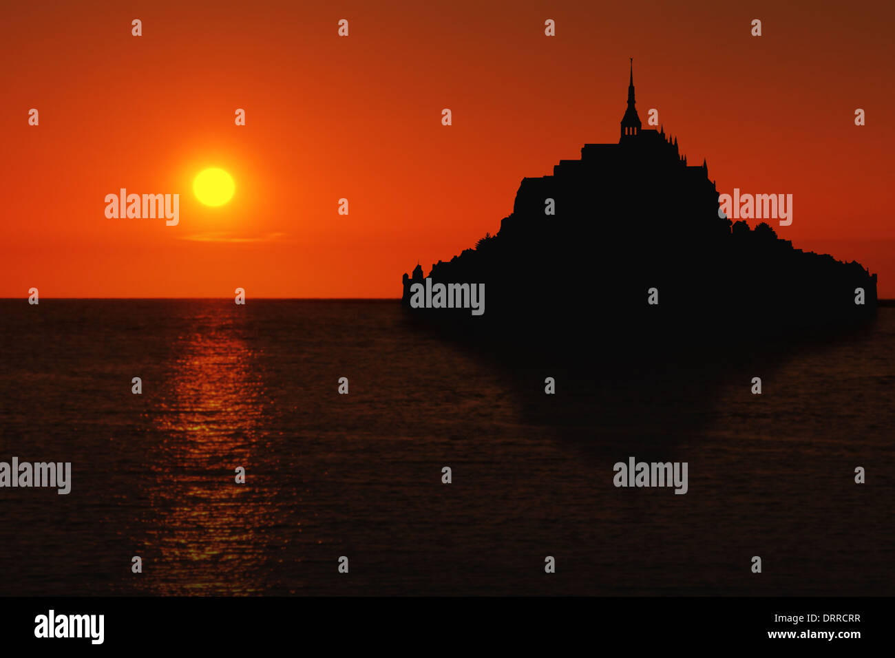 Le Mont Saint Michel silhouette with reflection in Normandy, France at sunset - Stock Image