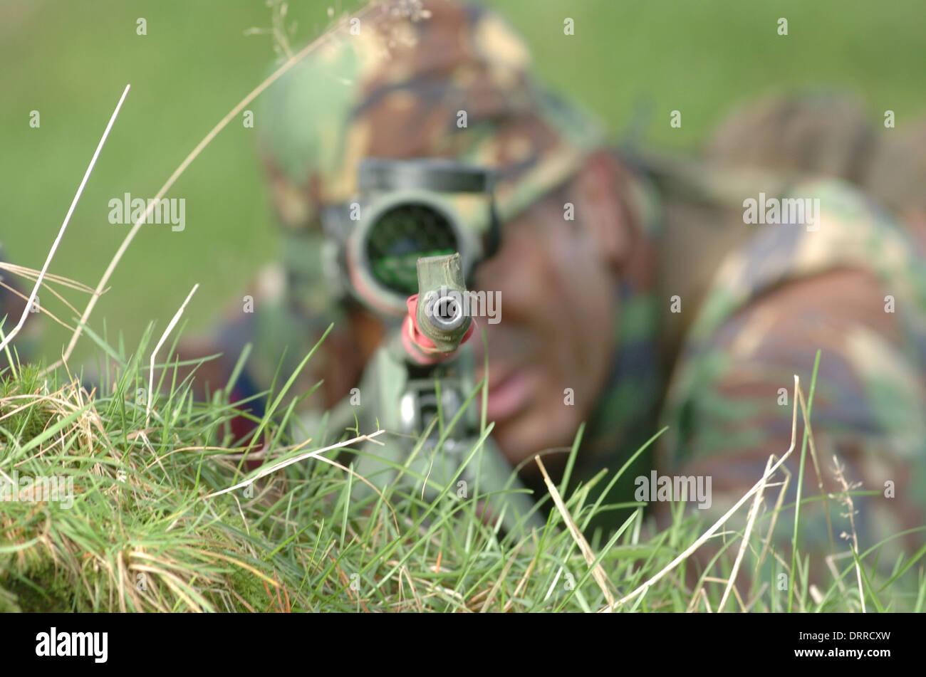 British army sniper team with his L115A3 sniper rifle, training in Brecon - Stock Image