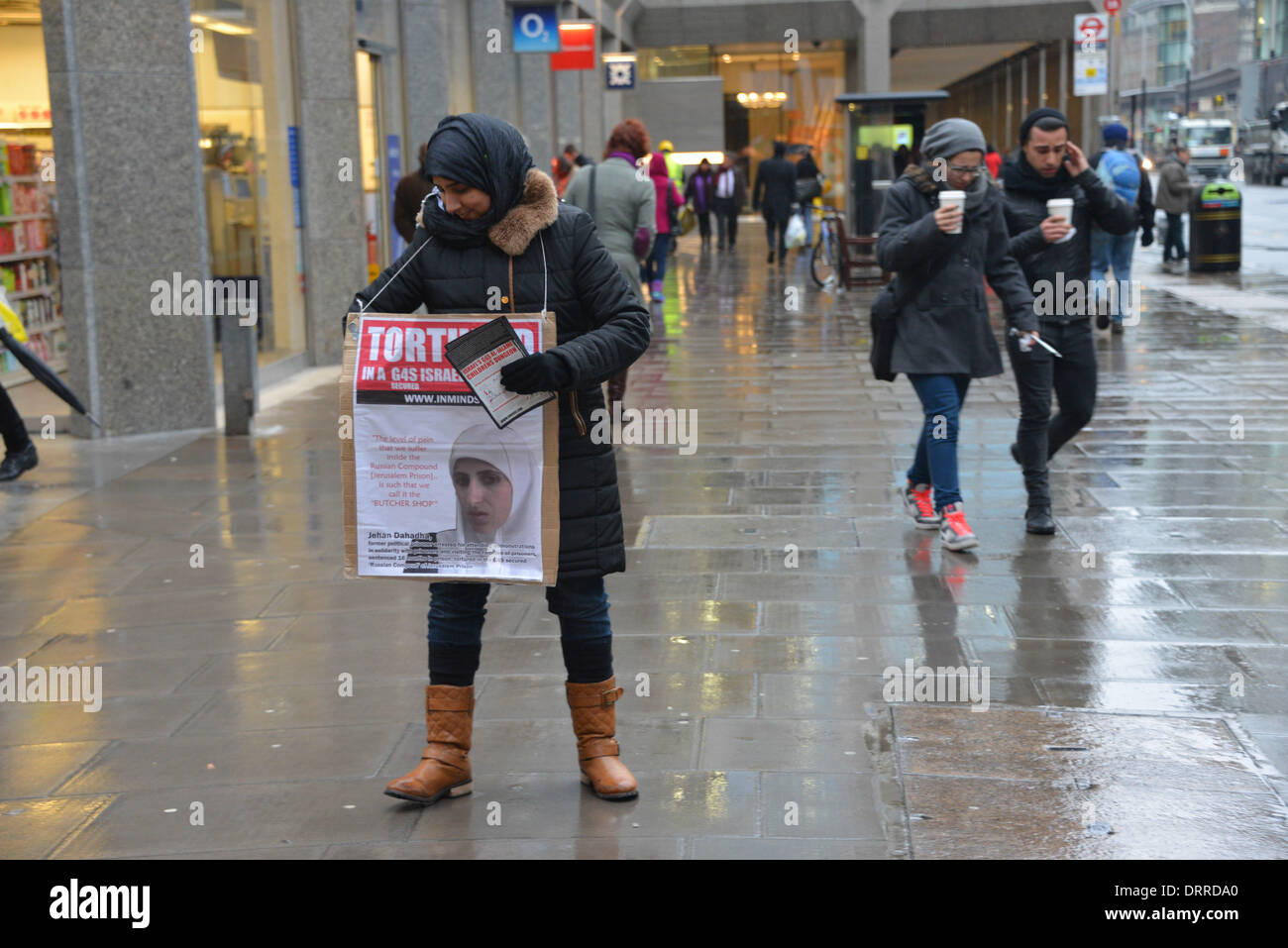 London UK, 31th January 2014 : 29th Inminds Protest G4S Complicity in Torture. Protesters demand to free the five Stock Photo