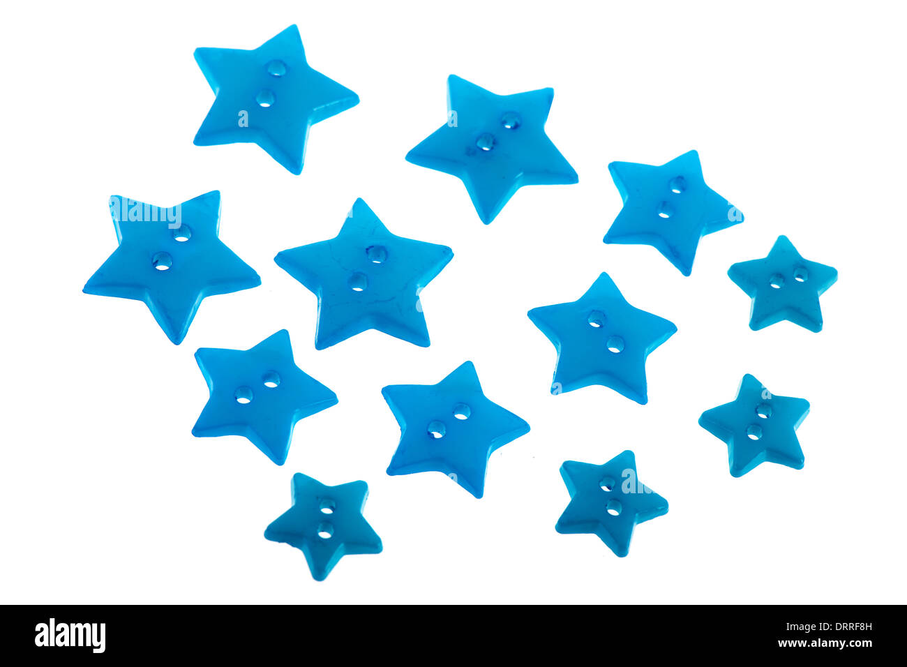 Several Blue Buttons In Star Shape Isolated Over White Background