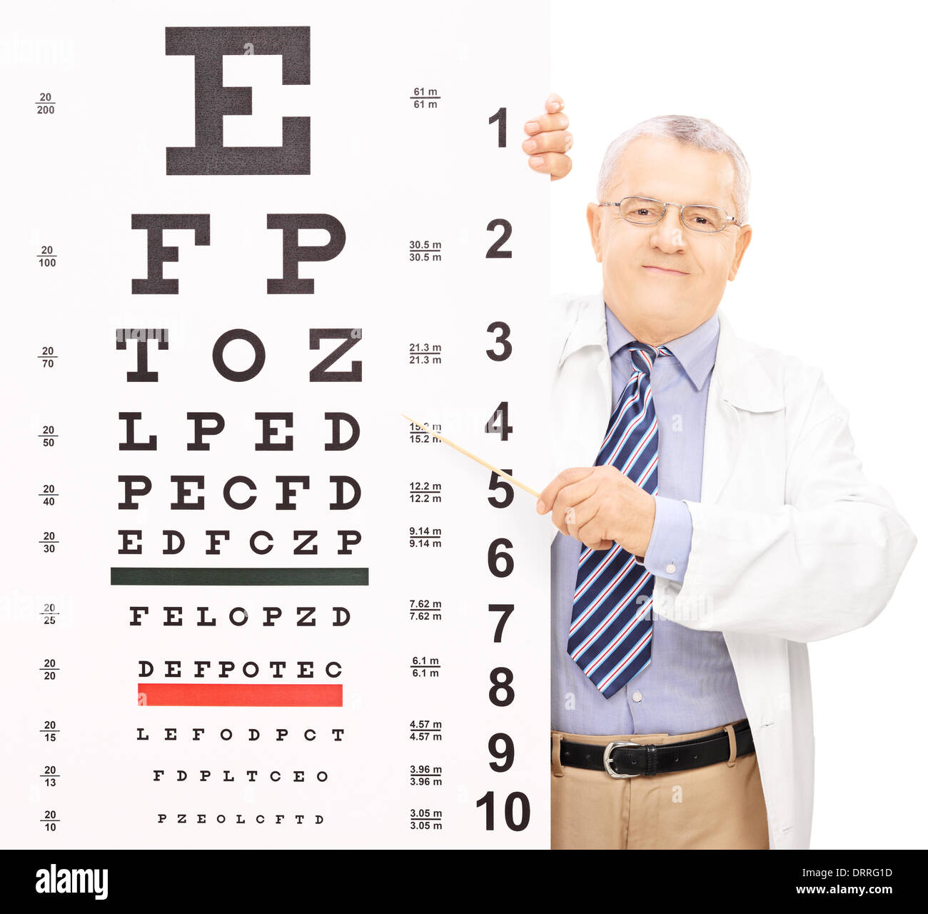 Male optician pointing to an eyesight test with a stick - Stock Image