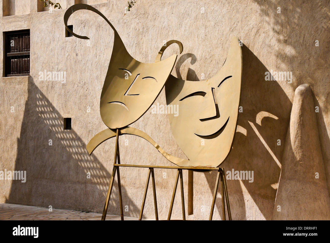 Comedy and Tragedy sculpture outside theatre in Bastakia Quarter of ...