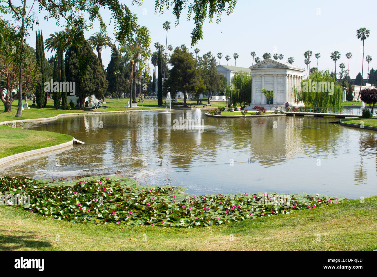 The island mausoleum of William Clark Jr in the Hollywood Forever Cemetery Hollywood Los Angeles USA - Stock Image