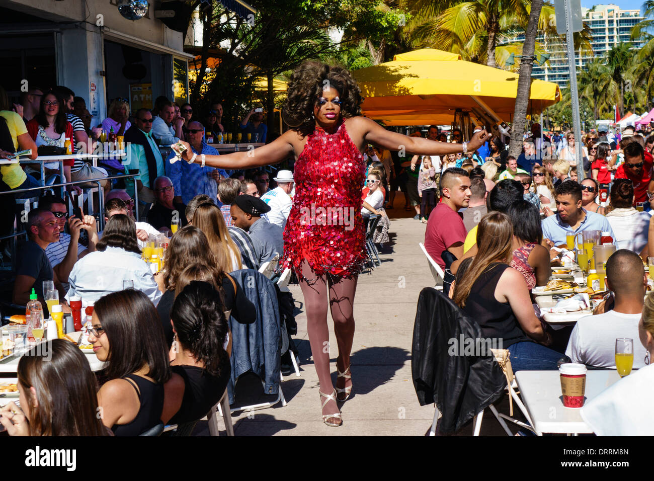 Miami Beach Florida Ocean Drive Art Deco Weekend festival street fair event Palace Bar restaurant alfresco dining live entertai - Stock Image