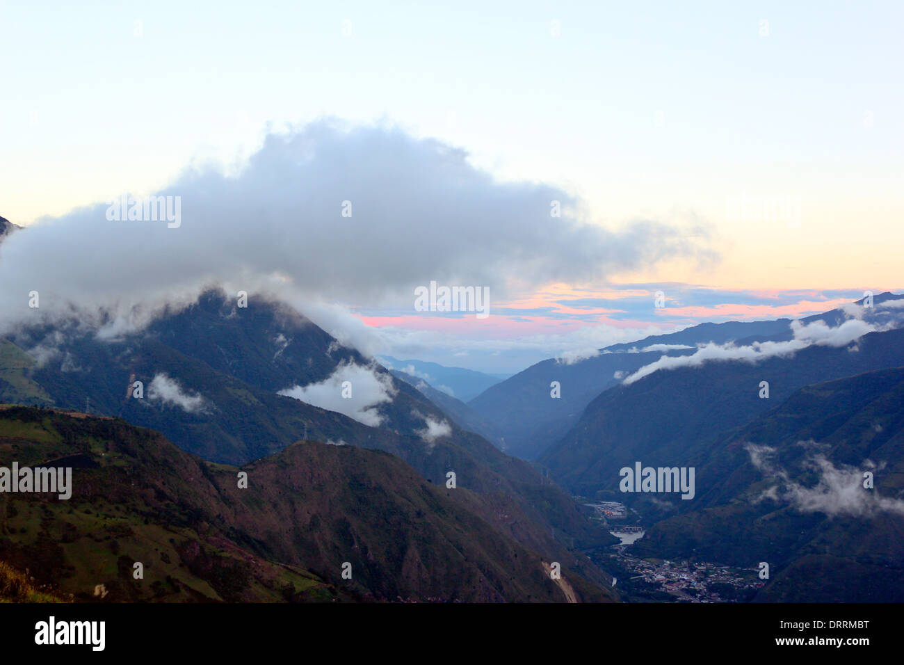 Evening view of the Pastaza Valley in the Ecuadorian Andes - Stock Image
