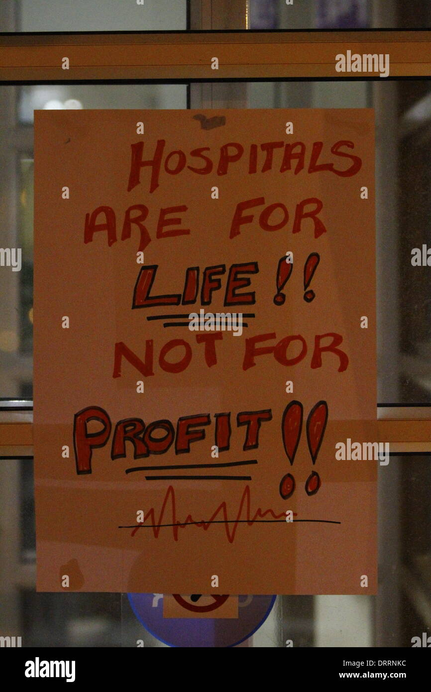 Dublin, Ireland. 31st January 2014. A sign has been put up o the door that reads 'Hospitals are for life!! not for Stock Photo