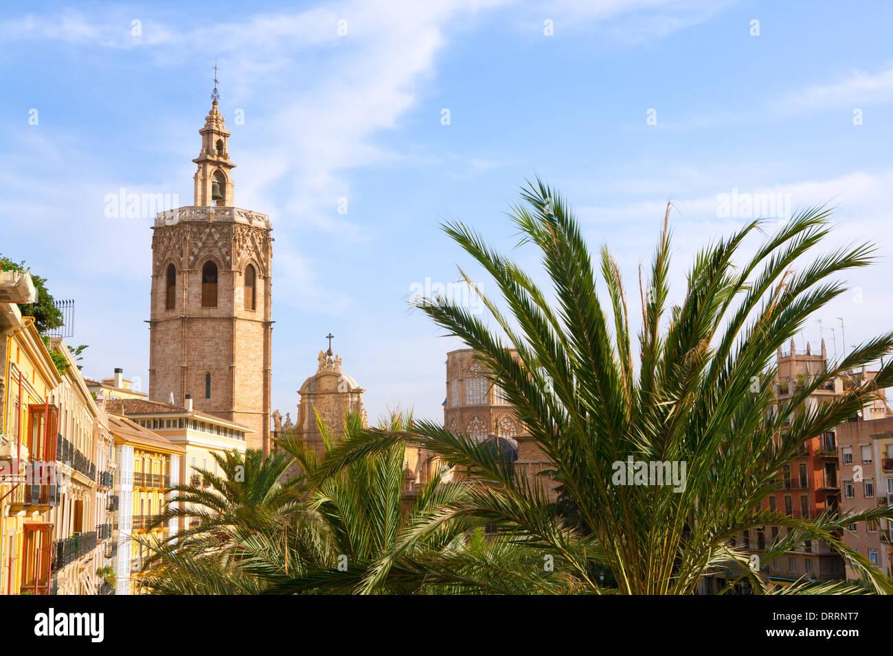 Valencia historic downtown El Miguelete and Cathedral Micalet de la Seu in spain - Stock Photo