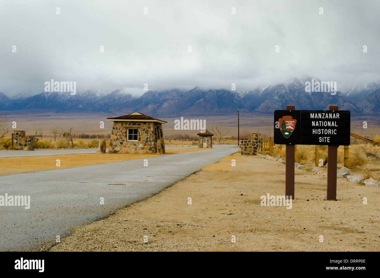 Entrance to Manzanar a WW2 era prison camp that held Japanese Americans located in a remote desert region in California - Stock Image