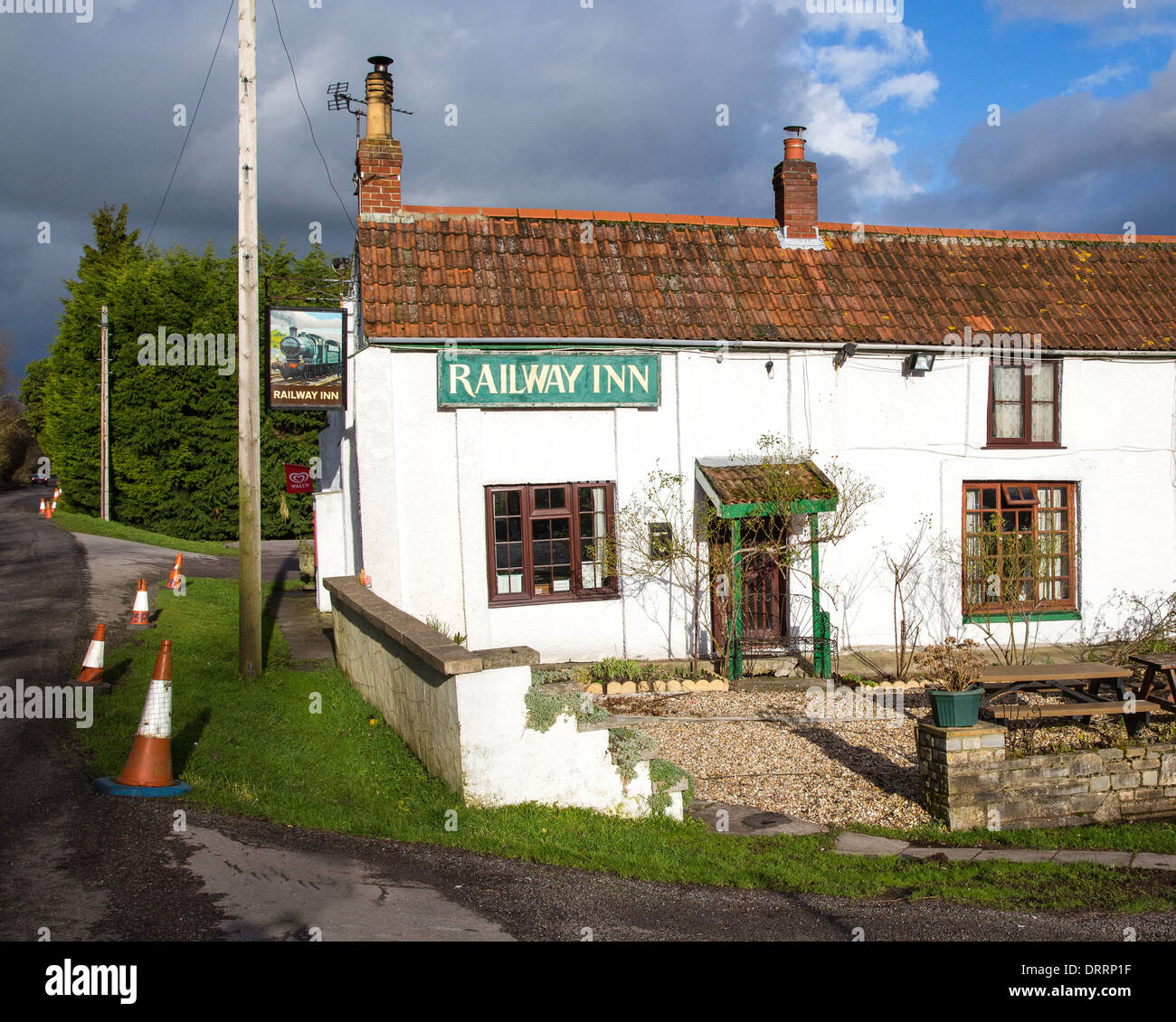The Railway Inn at Ham Wall on the Somerset Levels wetlands UK - Stock Image