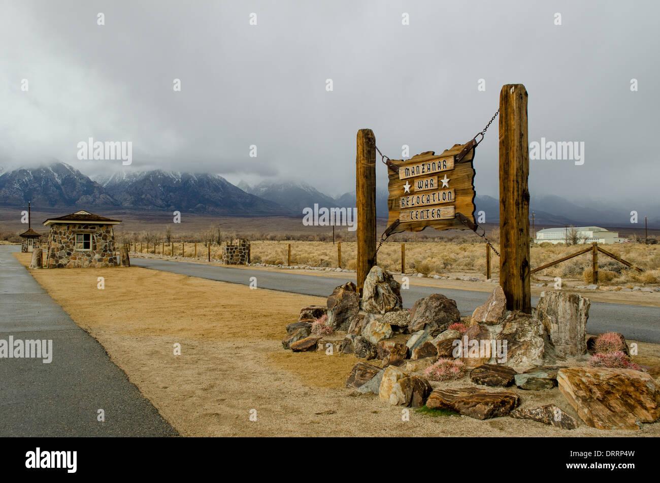 Manzanar  is a WW2 era prison camp that held Japanese Americans located in a remote desert region near Lone Pine, California - Stock Image