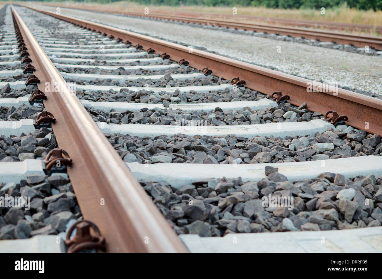 Railway Tracks with no Trains on Them Close-up - Stock Image