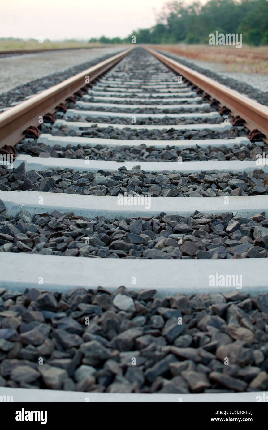 Railway Tracks to the Infinity with no Trains - Stock Image