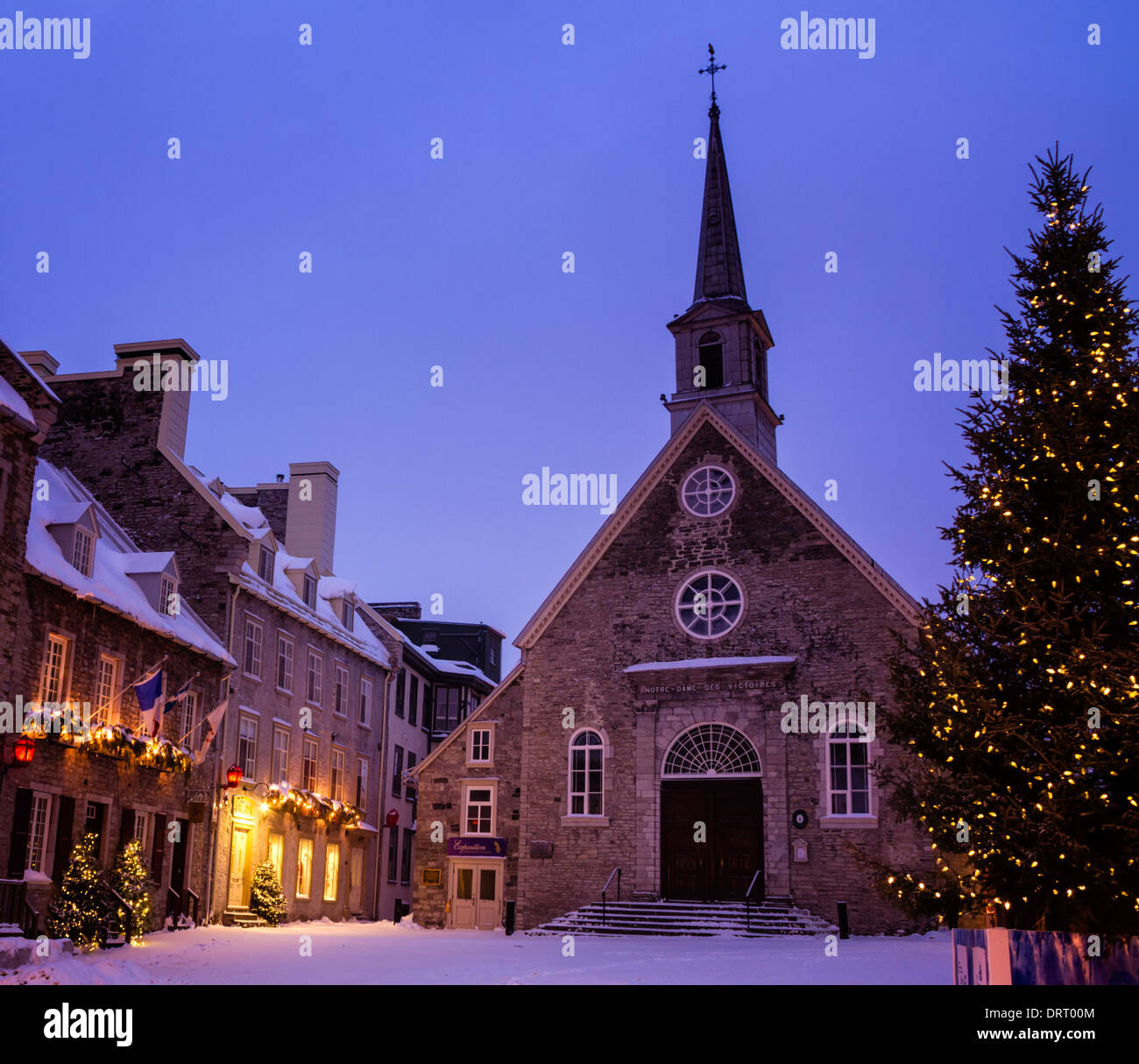 Notre-Dame-des-Victoires during Christmas, Lower Town, Quebec City, Canada - Stock Image