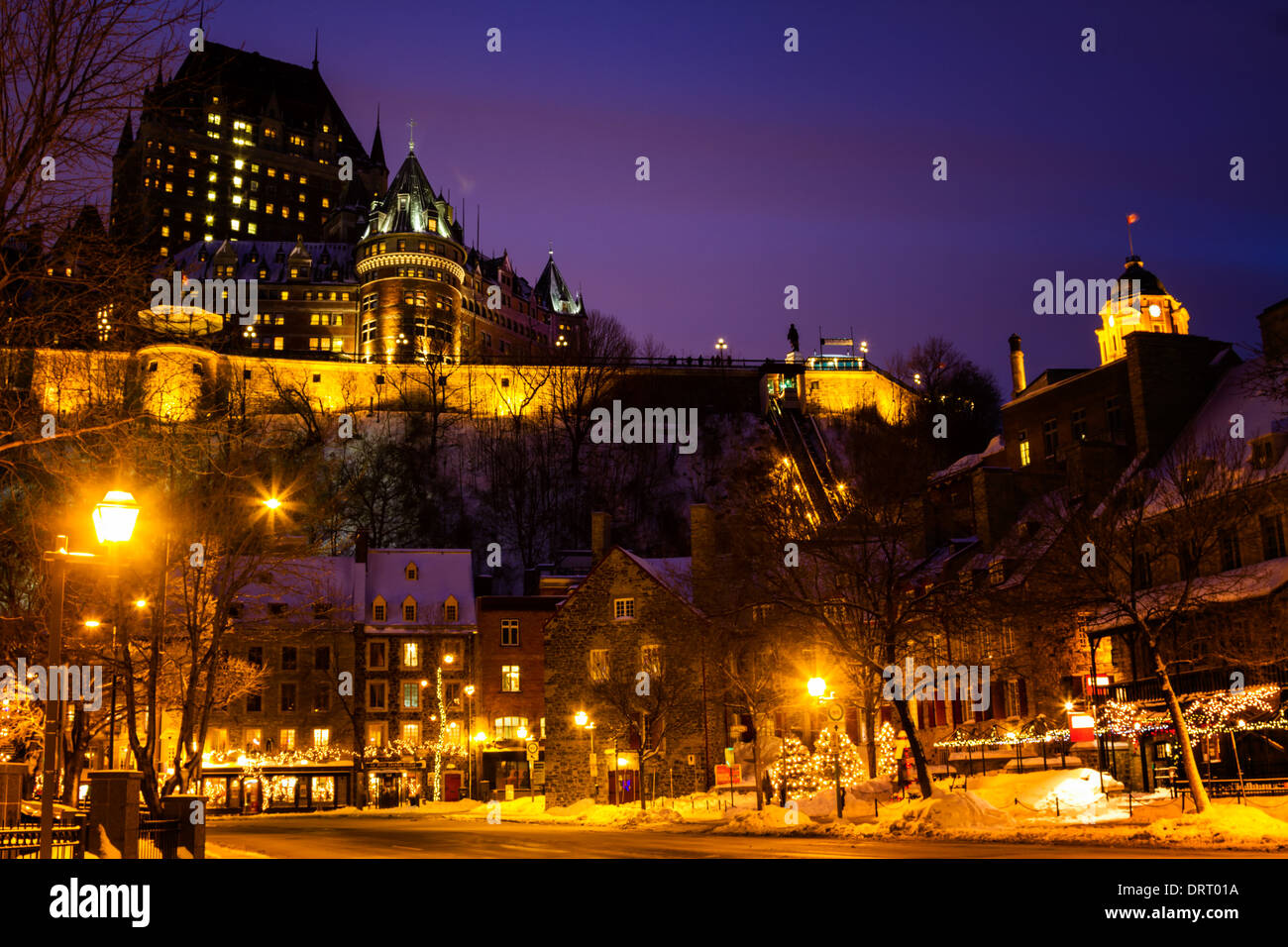 Twilight falls over Chateau Frontenac and Place-Royale, Quebec City, Canada - Stock Image
