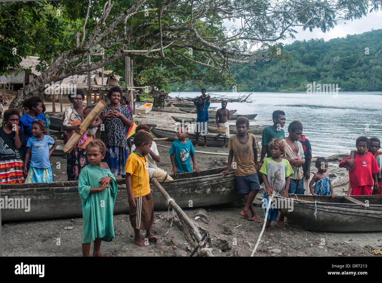 Melanesian villagers at anuta island makira province greet melanesian villagers at anuta island makira province greet visitors from an expedition cruise ship thecheapjerseys Image collections