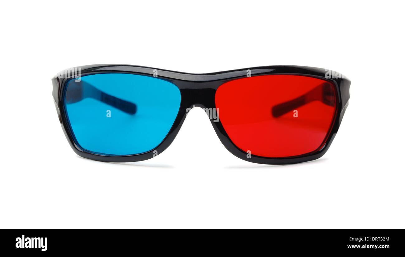 3D glasses on a white background - Stock Image