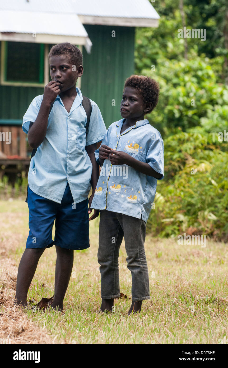 Schoolboys at a Seventh Day Adventist community on Kolombangara Island, Western Province, Solomon Islands - Stock Image