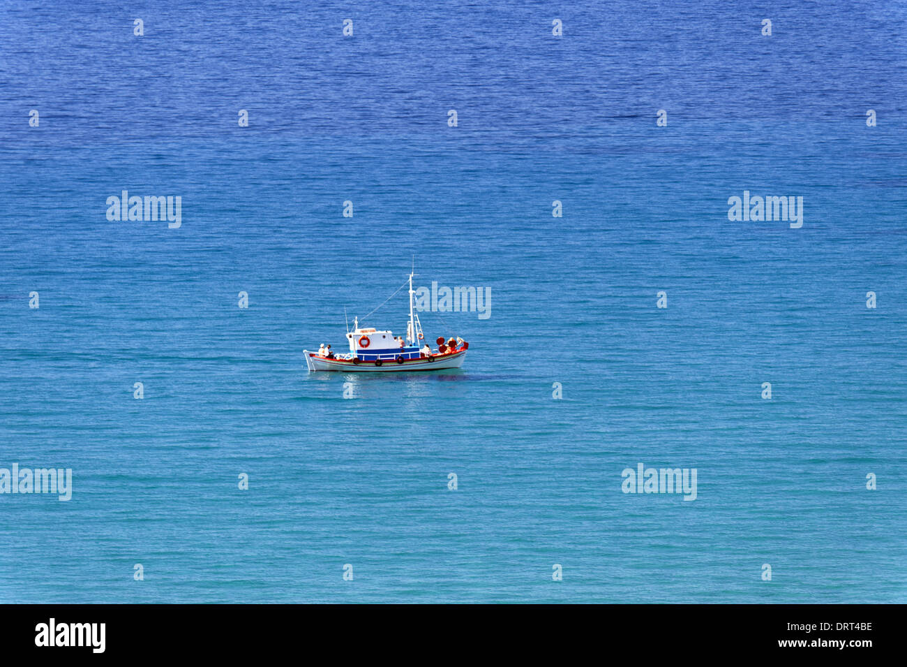 Boat in the aegean - Stock Image