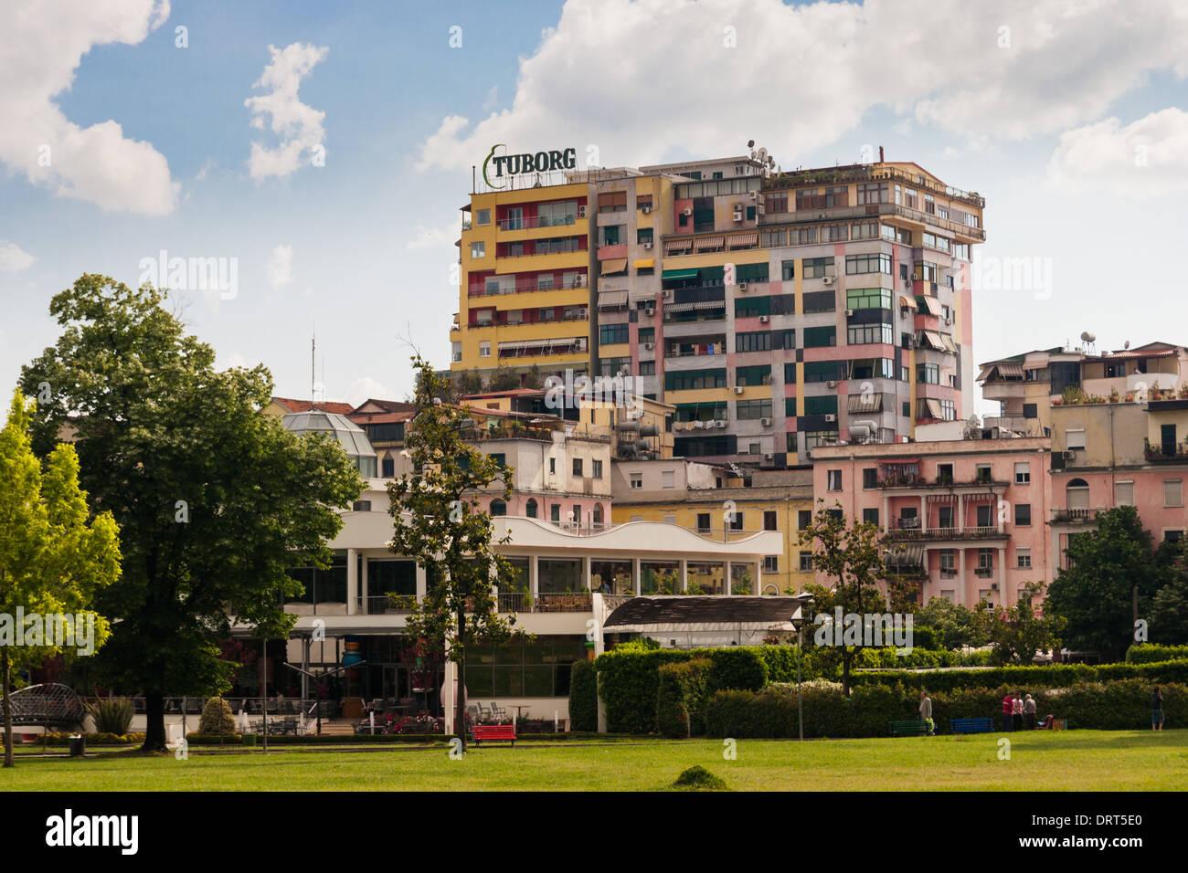 Building in the center of tirana, albania - Stock Image