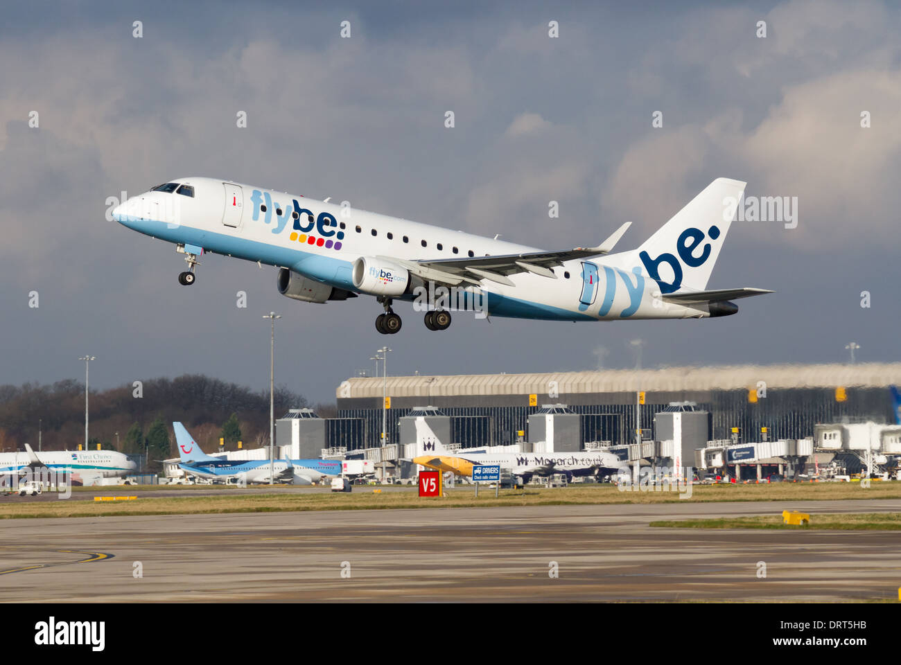 Flybe Embraer ERJ170-200STD G-FBJH taking off from Manchester Airport - Stock Image