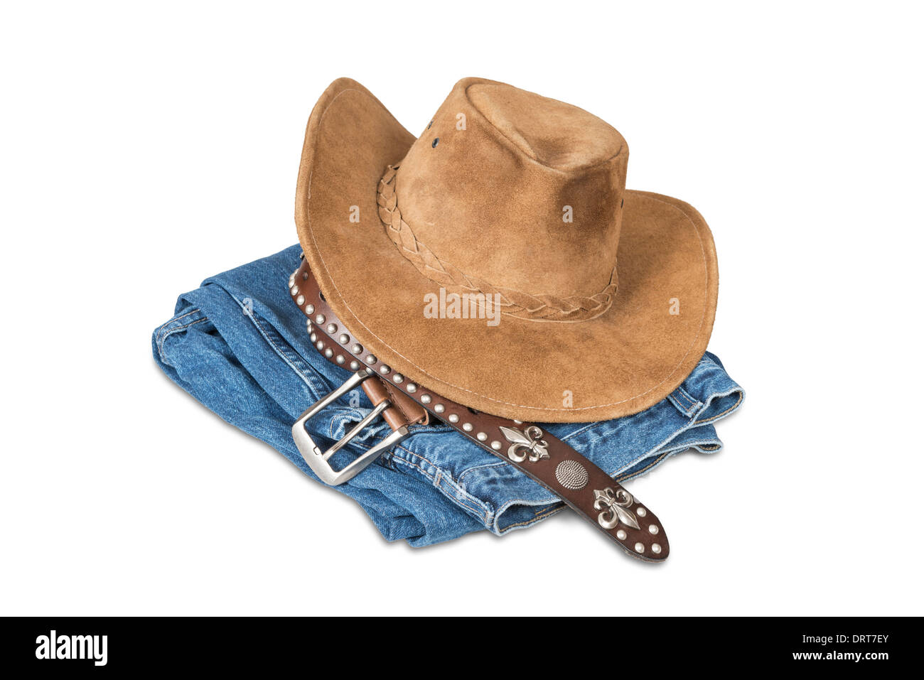 7cb79a182f5 Cowboy hat and accessories isolated over white with clipping path ...