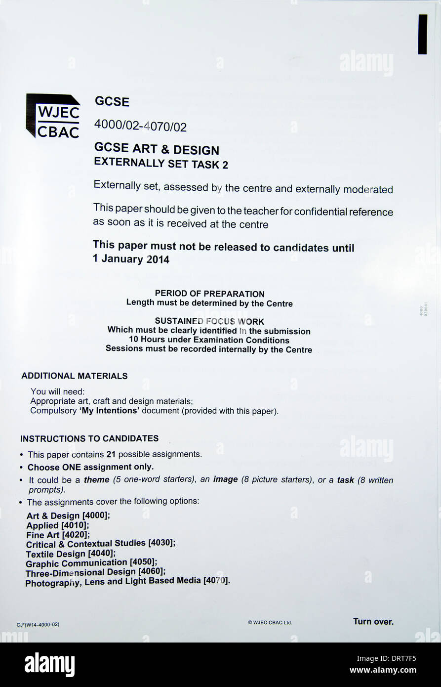 WJEC Art and Design GCSE external task information sheet - Stock Image