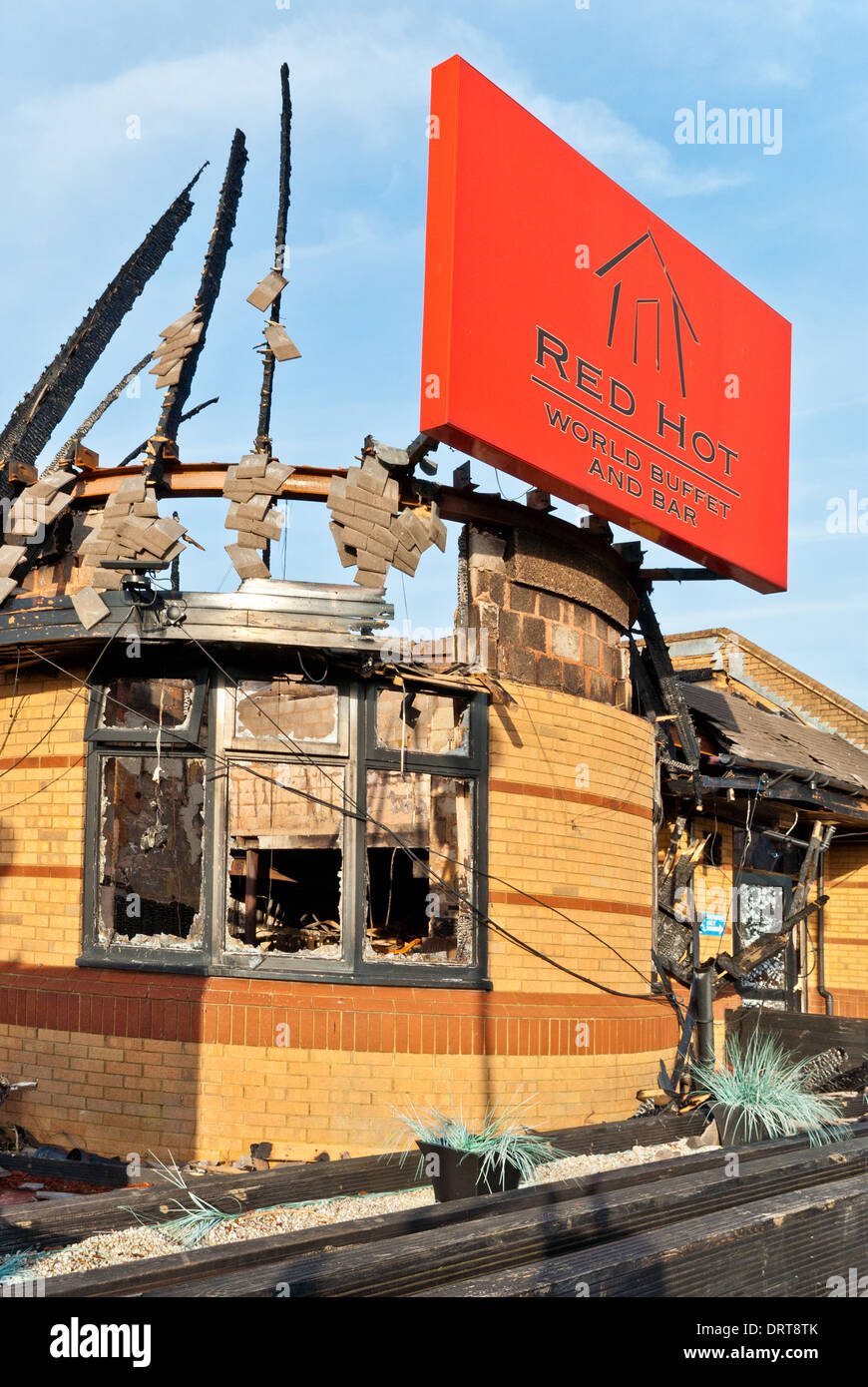 Red Hot Buffet Restaurant Northampton gutted by fire late 2013 - Stock Image