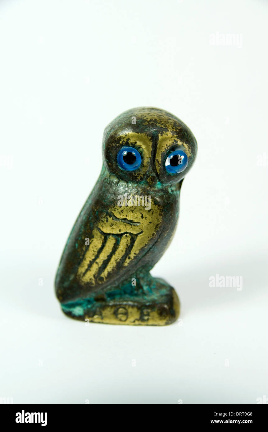 Statue of Owl symbol of the Goddess Athena from Greek Roman history. - Stock Image