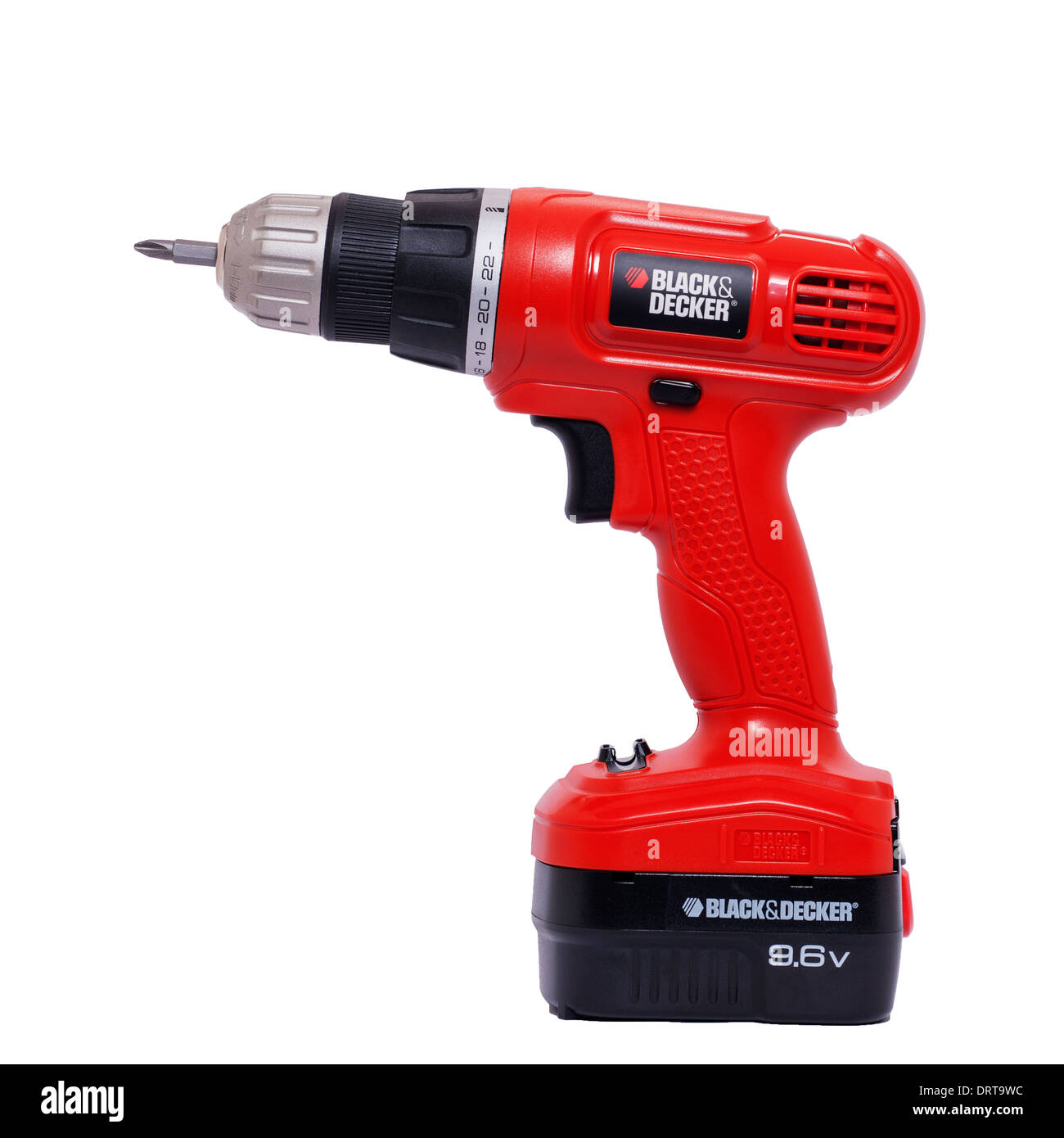 A Black & Decker cordless drill / screwdriver on a white background - Stock Image