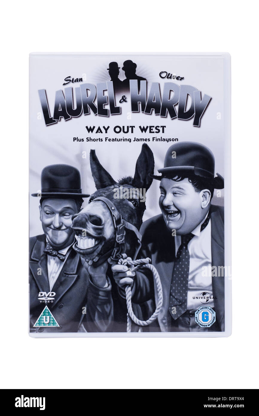 A classic Laurel & Hardy film dvd on a white background - Stock Image