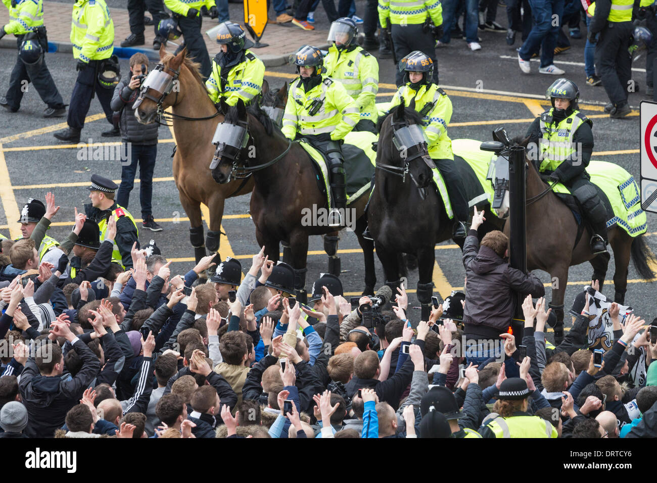 Newcastle United supporters on derby match day. - Stock Image
