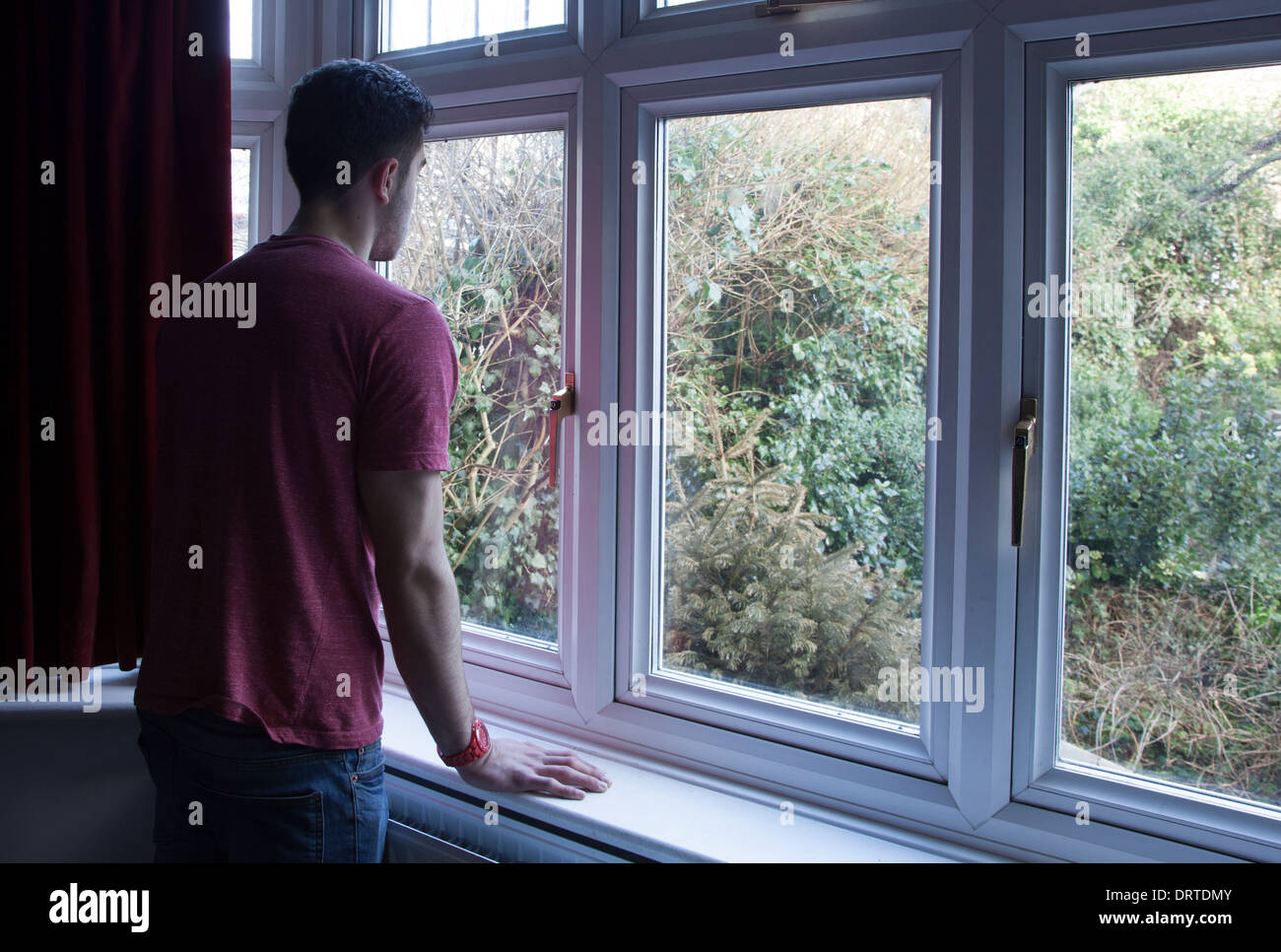 Young man indoors looking out through a window, over shoulder view. - Stock Image