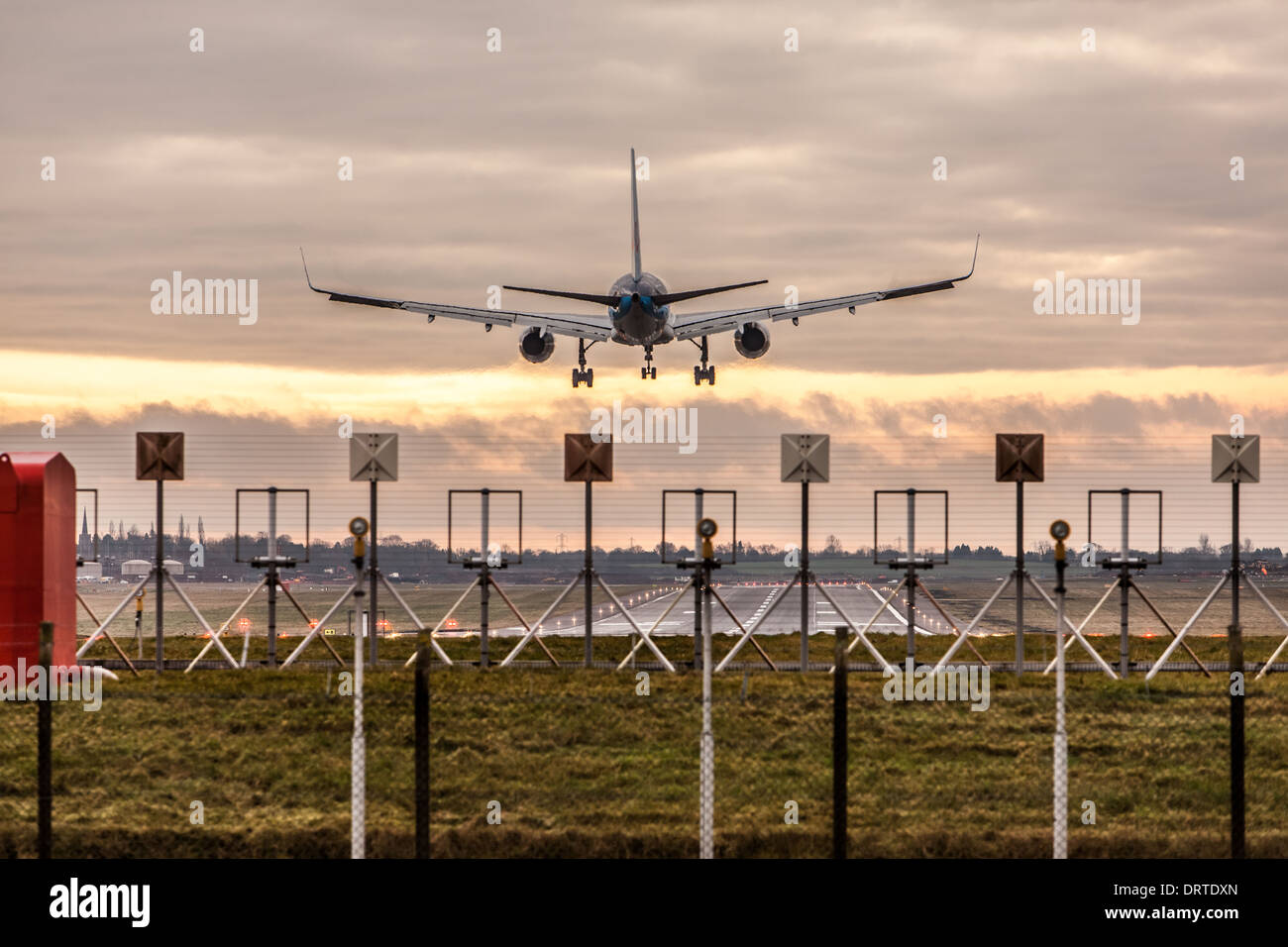 Thomson Boeing 767 Aircraft Landing at Birmingham Airport, West Midlands, England - Stock Image