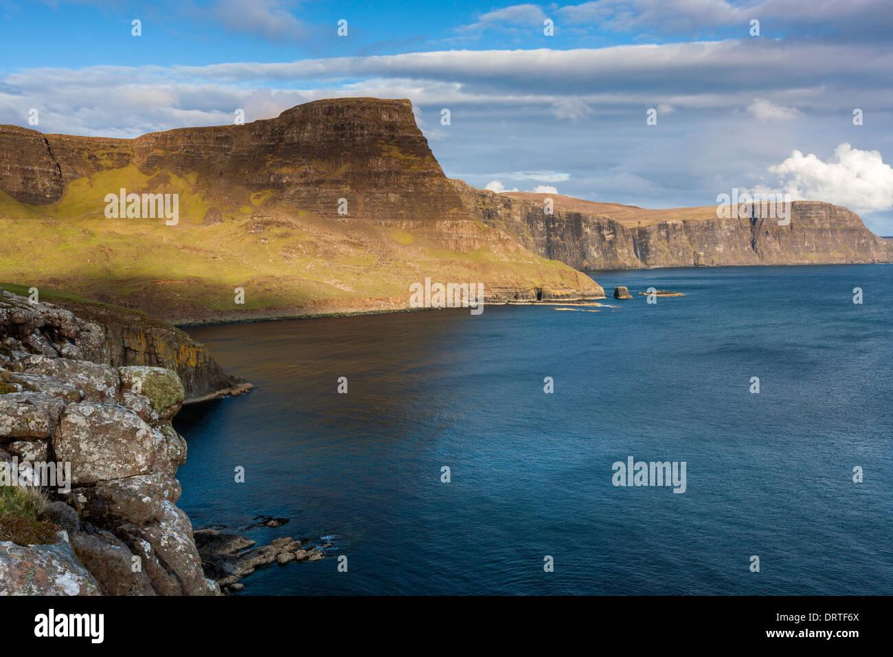 A view towards Waterstein Head and Ramasaig Cliffs, Moonen Bay, Isle of Skye, Inner Hebrides, Scotland, UK, Europe. Stock Photo