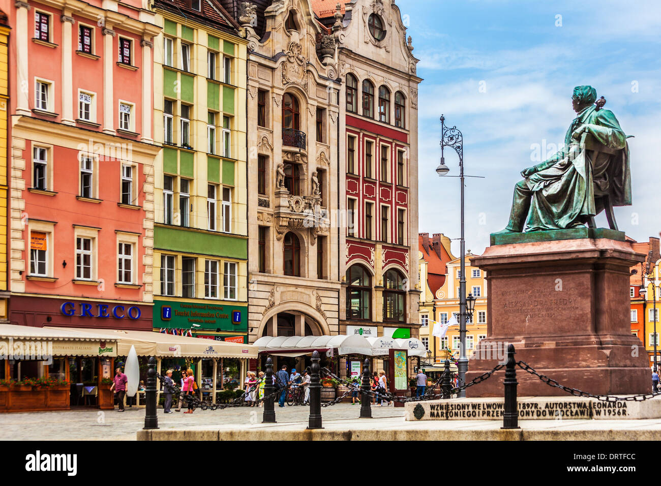 Bronze statue of poet Aleksander Fredro in the Old Town market square in Wroclaw. - Stock Image