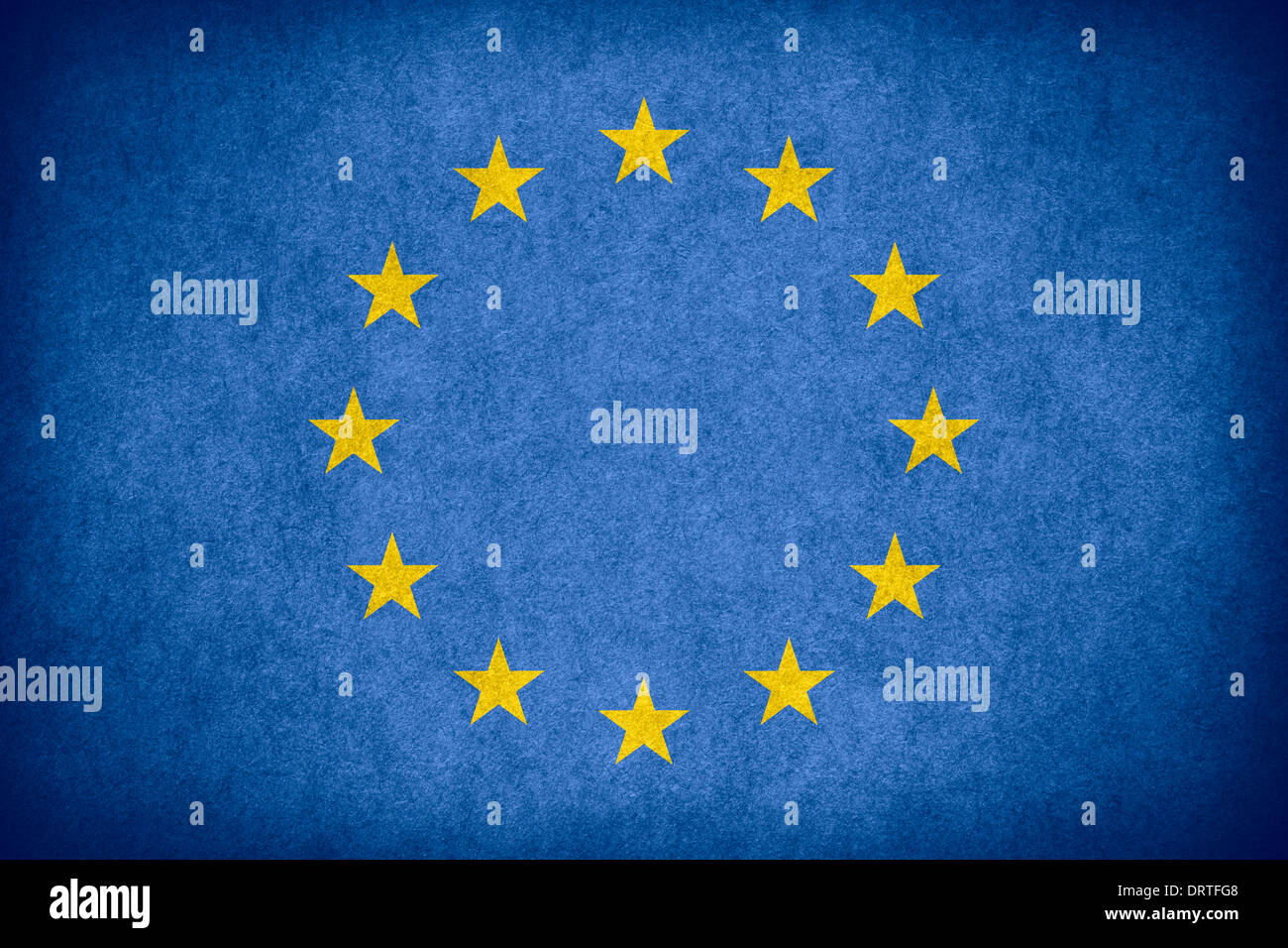 flag of European Union or Europe banner on paper rough pattern texture - Stock Image