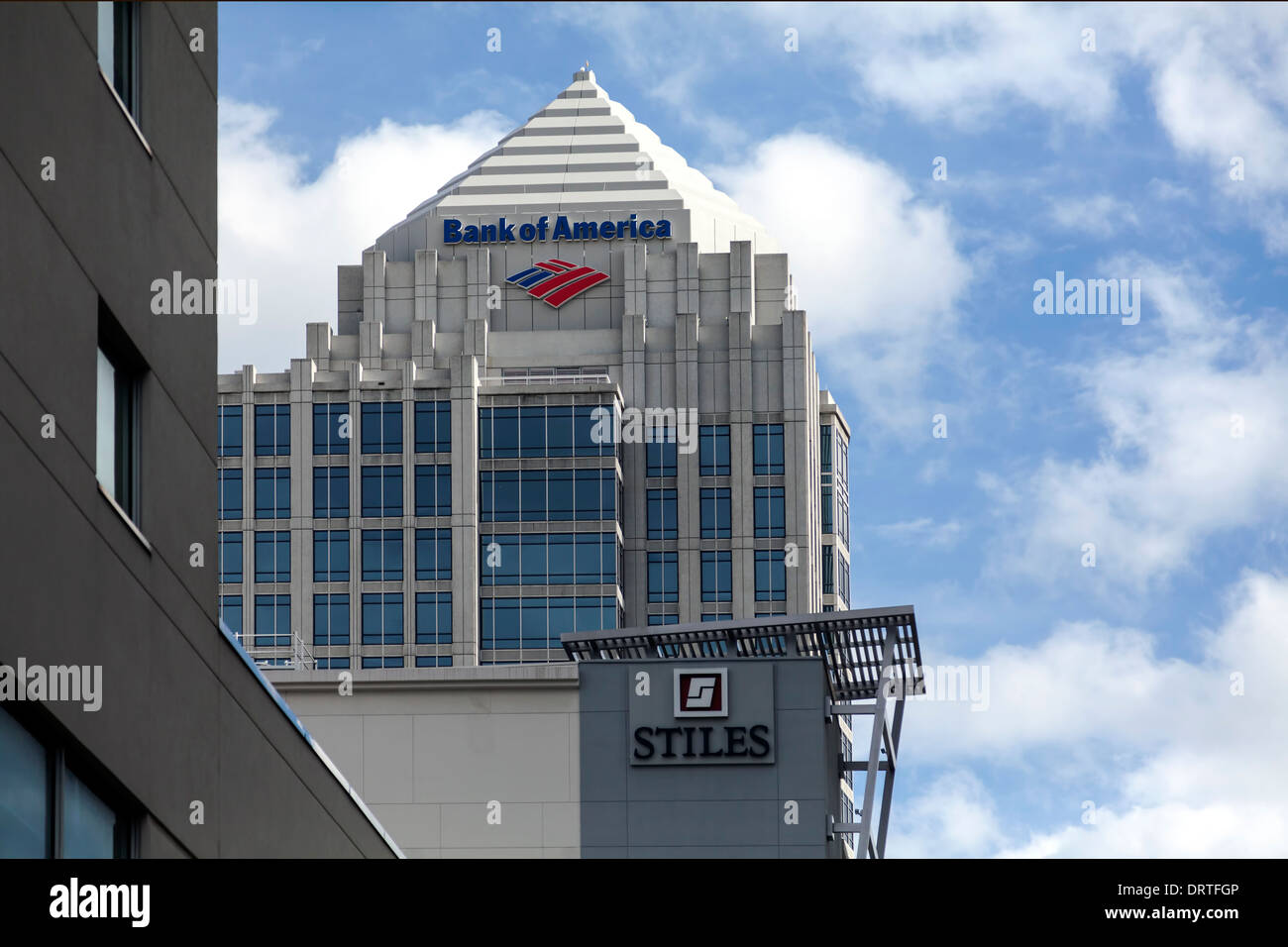 Bank of American and Stiles Construction highrise towers in downtown Fort Lauderdale, Florida. - Stock Image