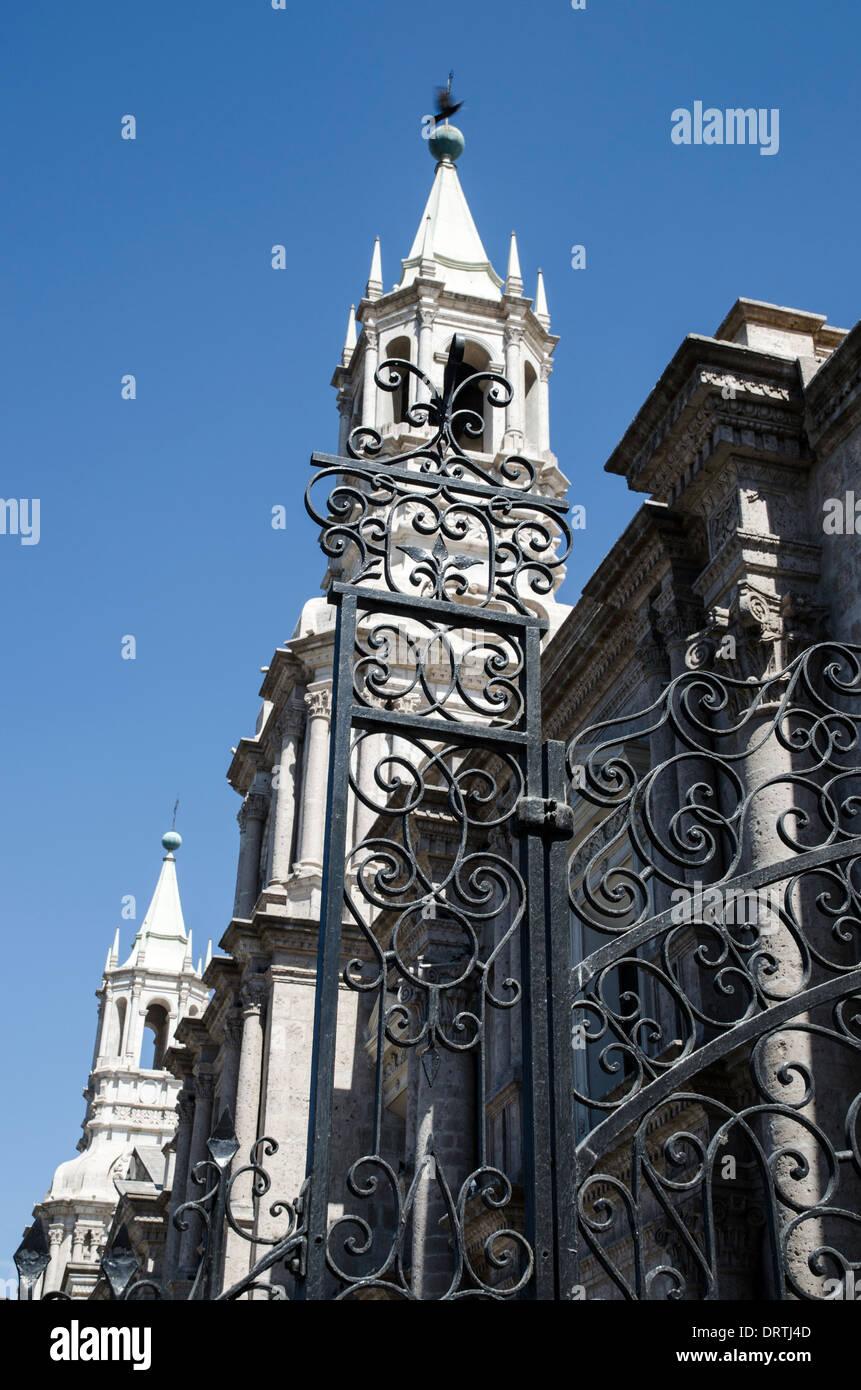 Basilica Cathedral of Arequipa 1656 . Arequipa. Peru. UNESCO World Heritage Site. - Stock Image