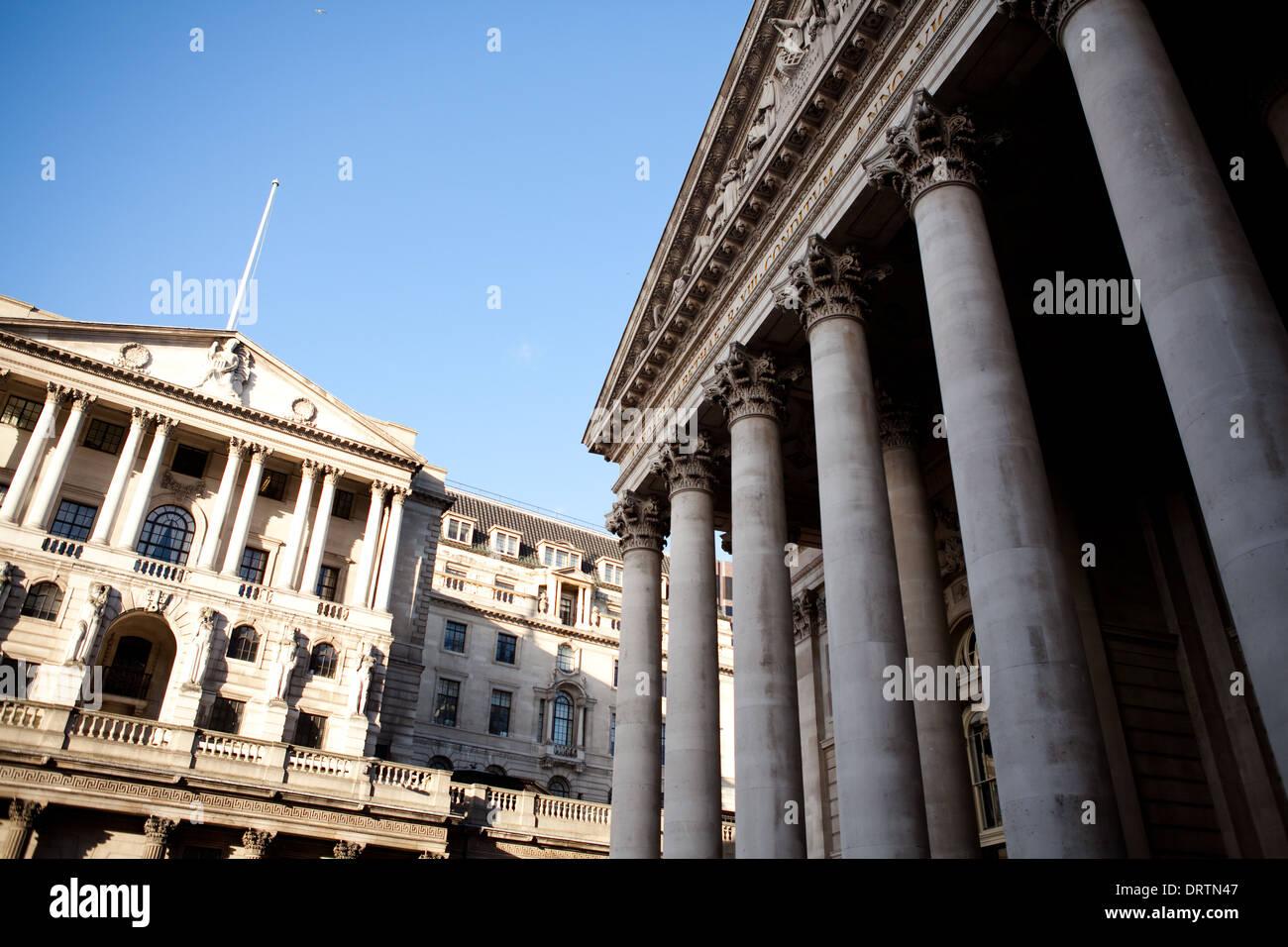 Bank of England, Royal Exchange, City of London, UK, England - Stock Image