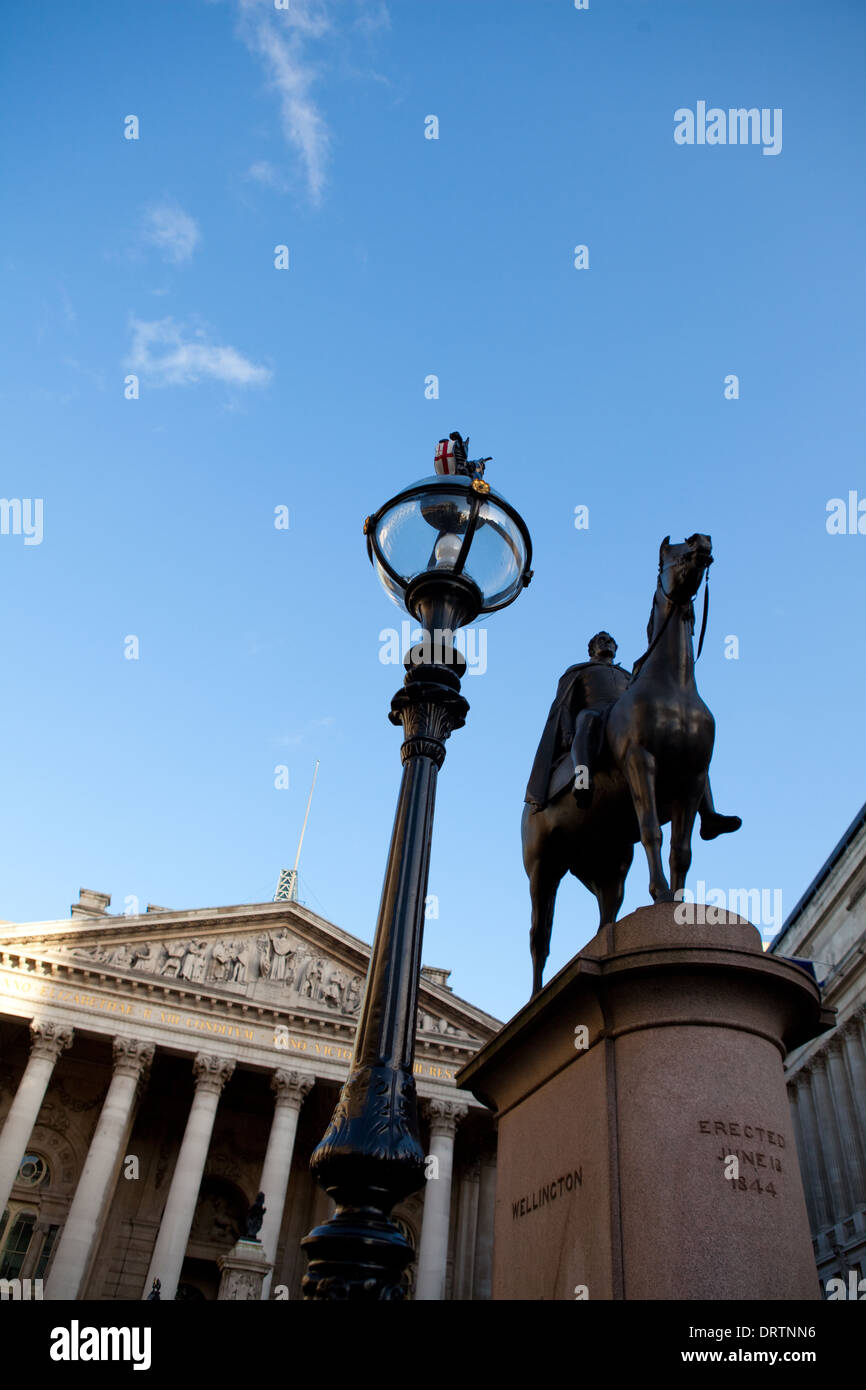 Wellington Statue and Royal Exchange at Bank, London - Stock Image