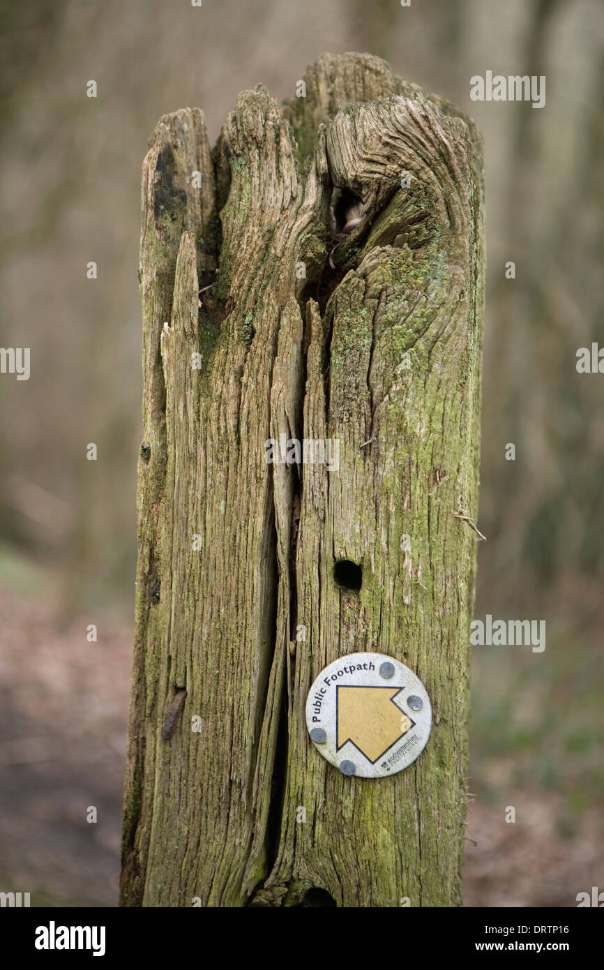 A close up photograph of a Public Footpath sign from the Worcestershire County Council which is nailed to an old Stock Photo