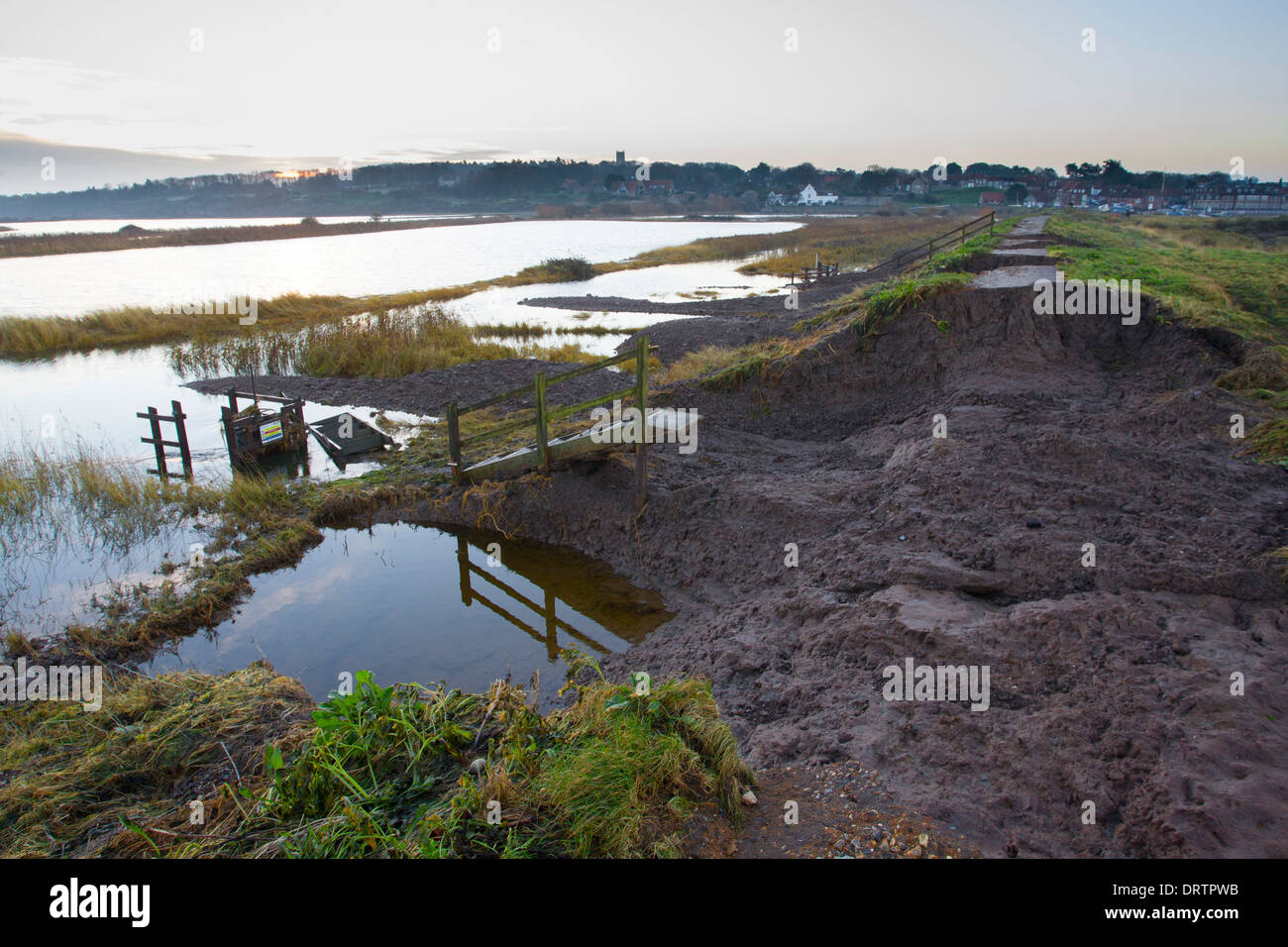 Sea defence damage at Blakeney in North Norfolk, East Anglia, UK, following the storm Surge in December 2013 Stock Photo