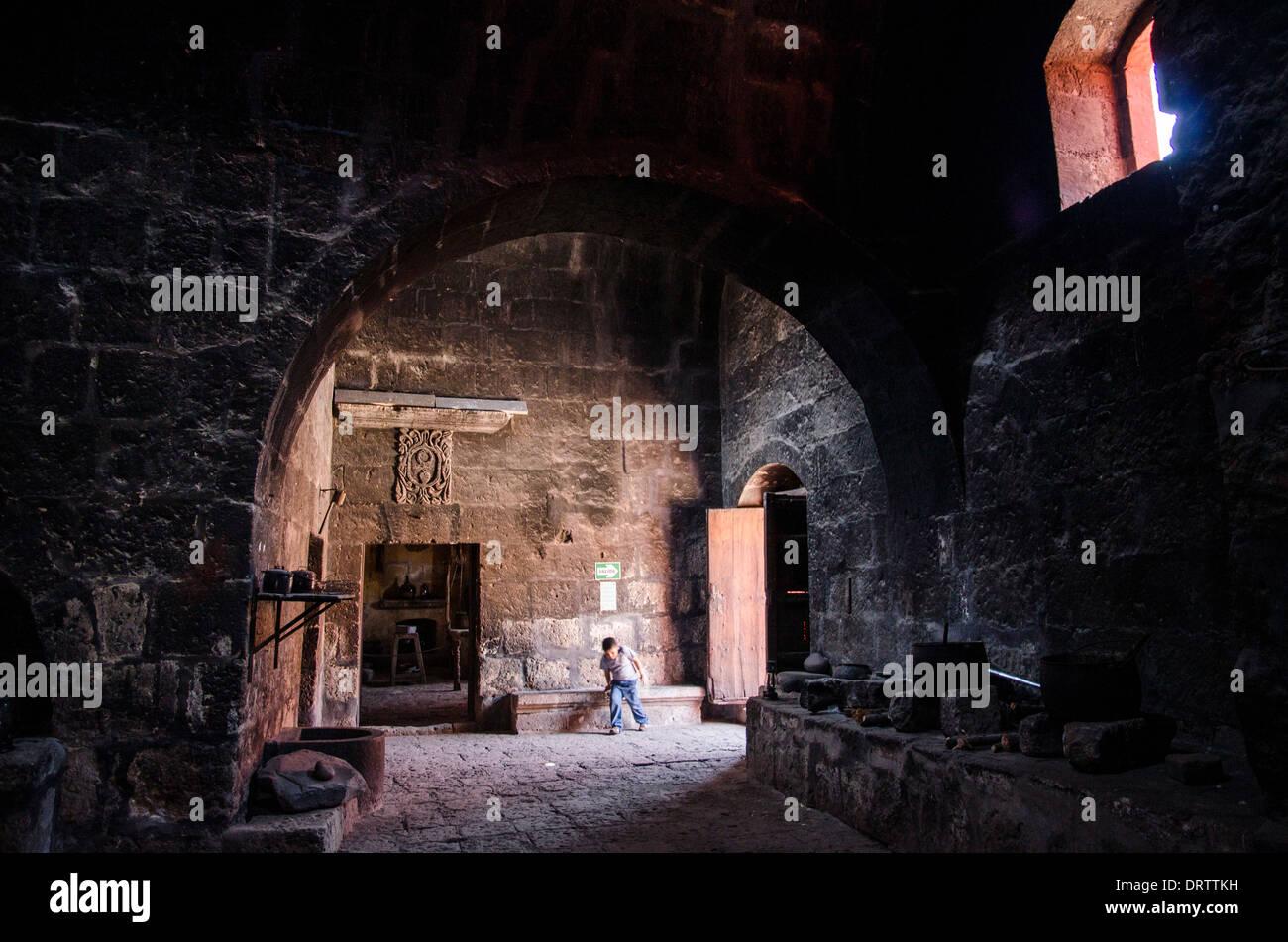 Santa Catalina of Siena Monastery 1579.Arequipa. Peru. UNESCO World Heritage Site. Kitchens. - Stock Image