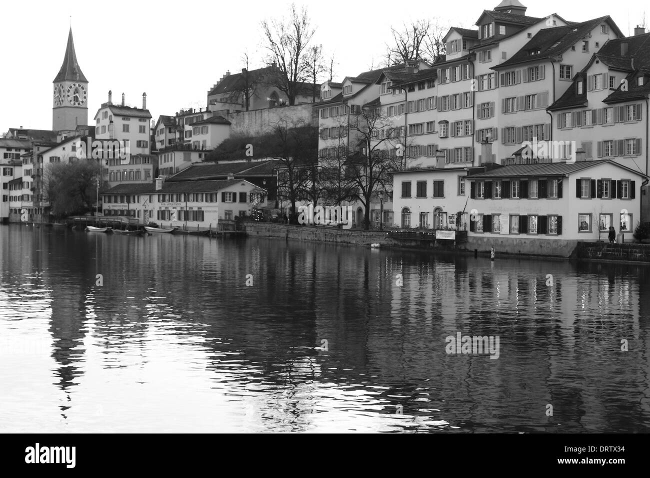 Evening view of Zurich, Switzerland, in black and white - Stock Image